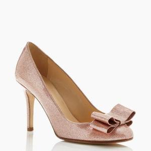 Kate Spade Glittery Pink Krysta Heels w/ Bow